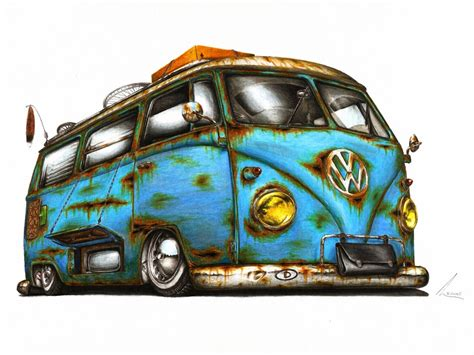 hippie volkswagen drawing vw t1 wake me up by medvezh on deviantart