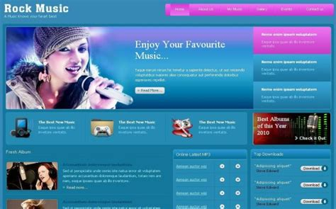 free templates for music website black rock guitar music css template