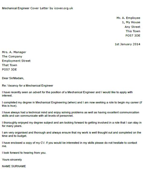 Cover Letter For Mechanical Engineer mechanical engineer cover letter exle icover org uk