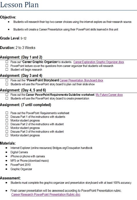 student centered lesson plan content area intro to