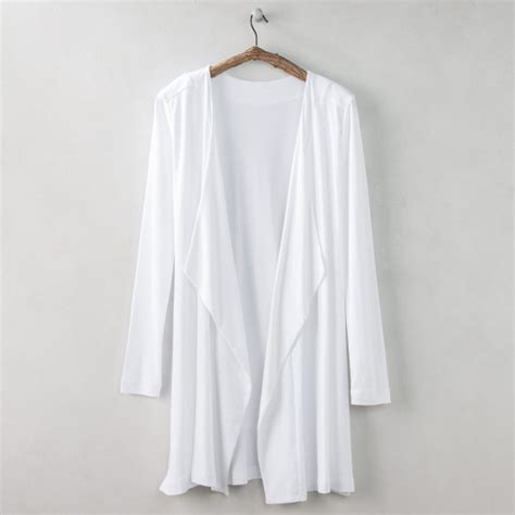 double drape organic cotton long double drape cardigan vivaterra