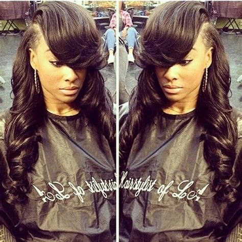 deep part bang deep side part sew in hair is everything pinterest