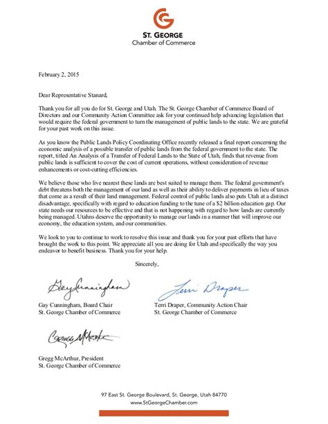 Support Letter For St 4 St George Ut Chamber Of Commerce Letters In Support Of The Transfer