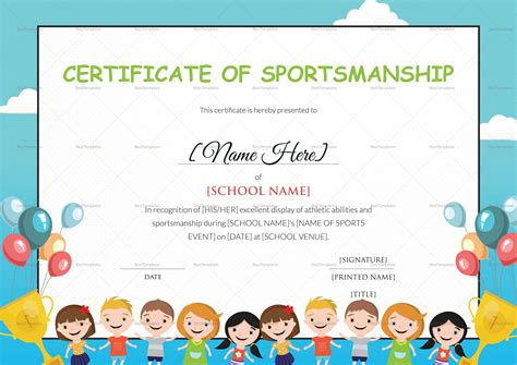 children s certificate template sportsmanship certificate design template in psd word