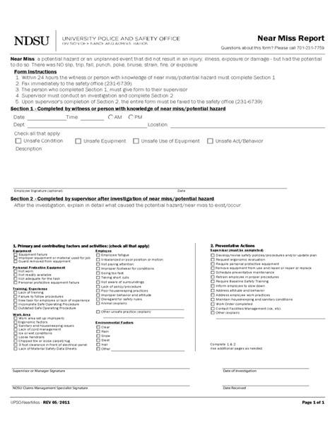 near miss report form template near miss reporting template free
