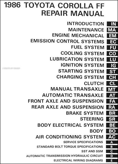 1986 Toyota Repair Manual 1986 Toyota Corolla Fwd Repair Shop Manual Dlx Le Original