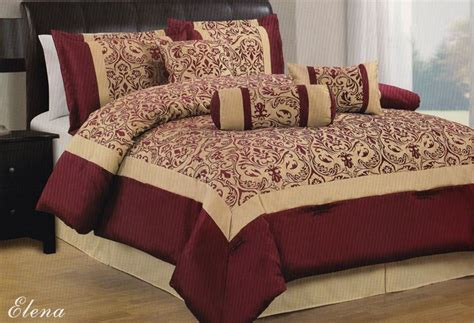 burgundy gold floral 7pc comforter set king size brand