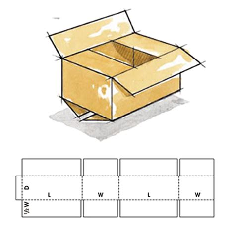 corrugated box template rsc style overlap center special slotted corrugated