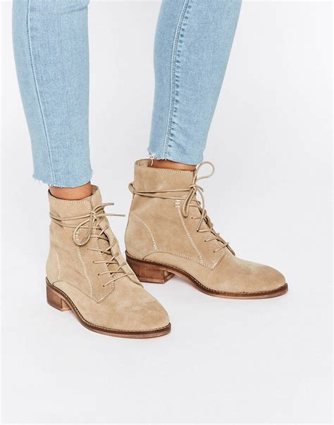 asos aliza suede lace up ankle boots beige in lyst