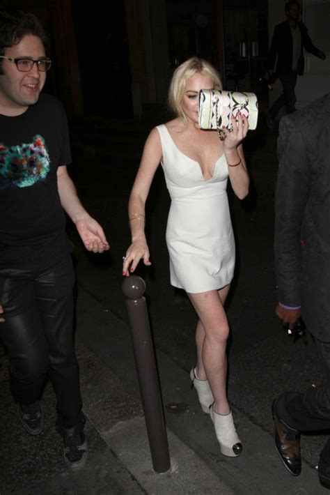 Lindsay Lohan Leaving A Club by Lindsay Lohan White Dress Candids In 15 Gotceleb