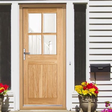 Cottage 4l Exterior Oak Door With Clear Double Safety Glazing Cottage Doors Exterior