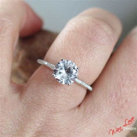 Green Saphire 14 2ct white sapphire engagement ring basket solitaire