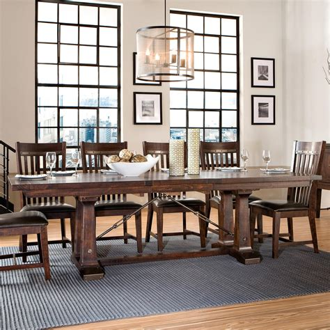 intercon hayden trestle dining table with metal table