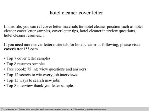 cover letter cleaner hotel hotel cleaner cover letter