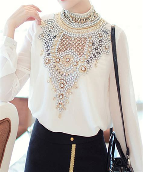 Handmade Blouse - brand luxury handmade diamonds pattern sleeve chiffon