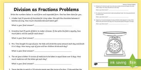 Division As Fractions Worksheets