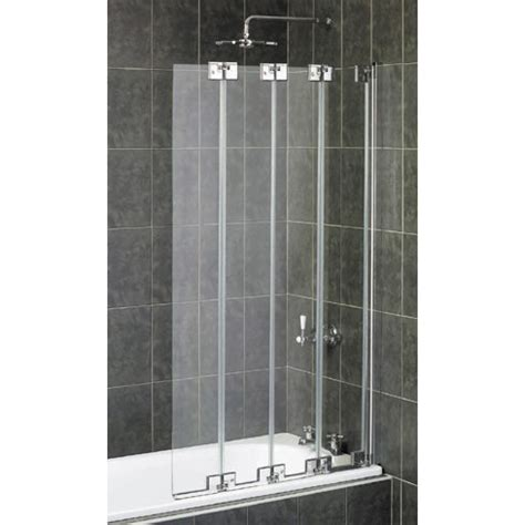 Shower Over Corner Bath aqualux pura frameless 4 fold bath screen polished