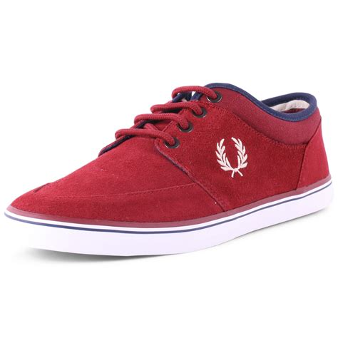 fred perry stratford b6216 mens suede maroon trainers new