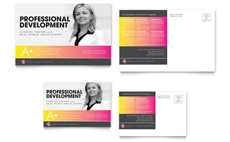 adult education business school postcard template design