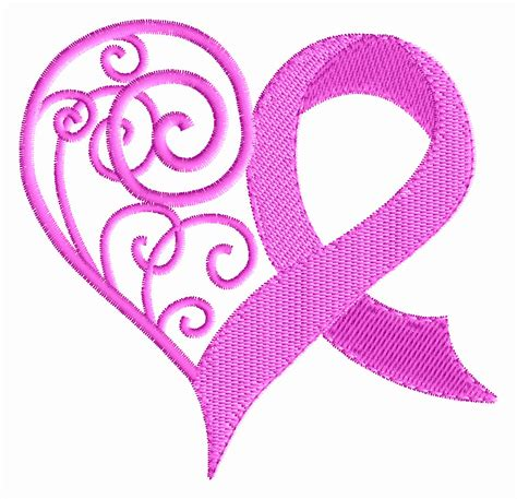 set of five breast cancer awareness machine embroidery designs