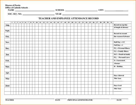 attendance calendar template 8 attendance calendar templatereference letters words