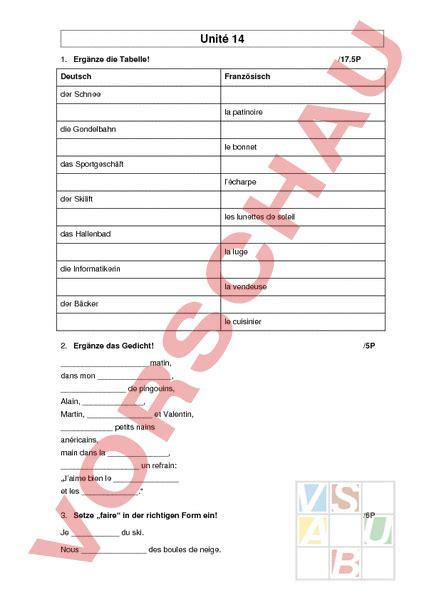 Musterbrief Angebot Französisch Www Unterrichtsmaterial Ch Franz 195 182 Sisch Lehrmittel Pr 195 188 Fung Unit 195 169 14 Arbeitsbl 195 164 Tter