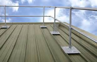 roof handrail safety railing for corrugated and standing seam roofs