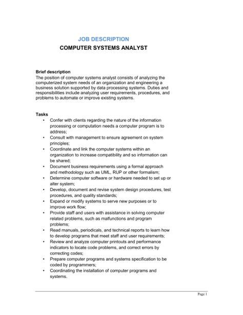 computer system analyst description template
