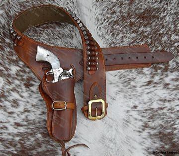 lined western leather gunbelt holster set guns