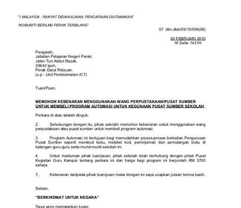contoh surat rasmi sokongan ketua