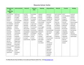 resume exles verbs for resumes exles