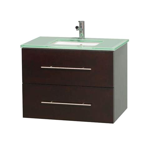 Glass Vanity Tops Wyndham Collection Centra 30 In Vanity In Espresso With Glass Vanity Top In Green And