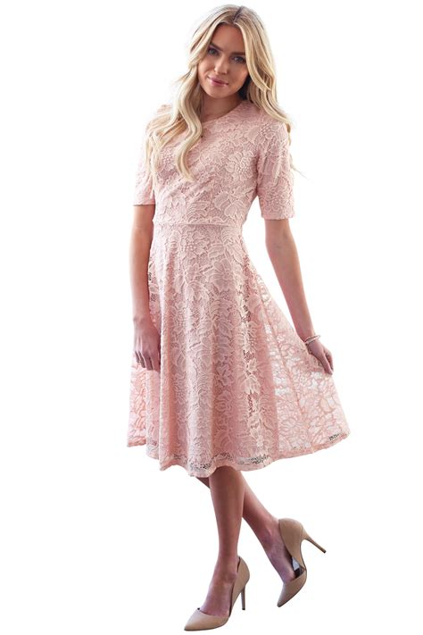 27858 Pink Lace Dress sloan modest bridesmaid lace dress in blush pink