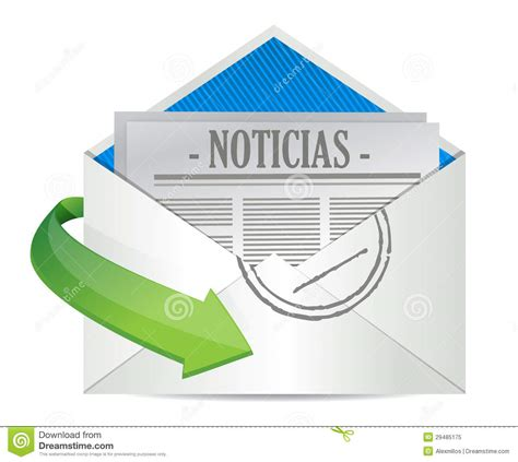 inside in spanish open envelope with news paper inside in spanish royalty