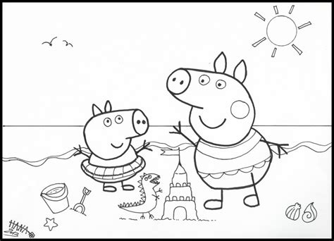 peppa pig coloring pages a4 free coloring pages of peppa pig at the beach