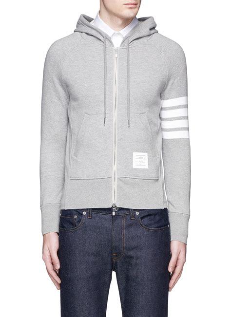 Zipper Hoodie Electronic 03 lyst thom browne stripe sleeve zip hoodie in gray for
