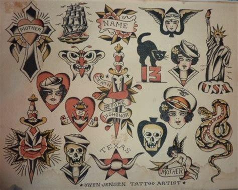original owen jensen 1940 s traditional tattoo flash