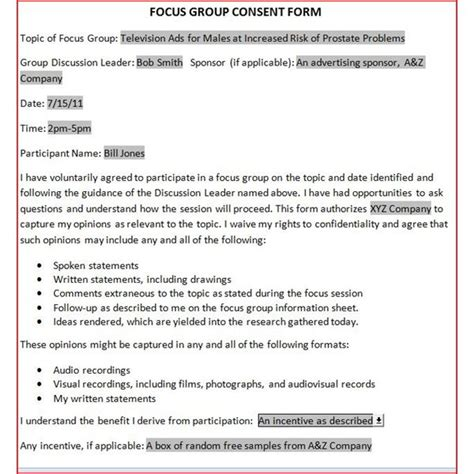 Letter Of Consent For Research Participants Free Downloadable Focus Release Form