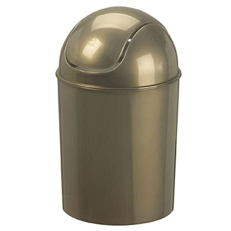 mini swing top trash can platinum gloss in bathroom