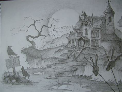 how to draw a haunted house haunted house by mrtomlong on deviantart