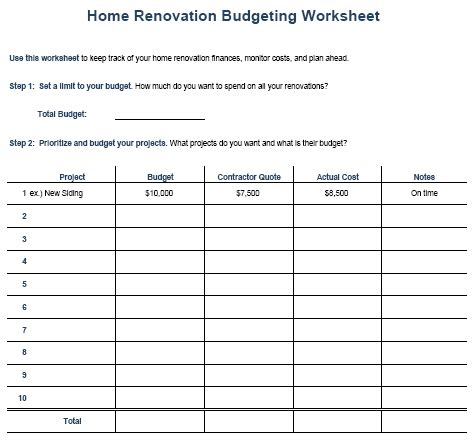 home remodel budget sheet
