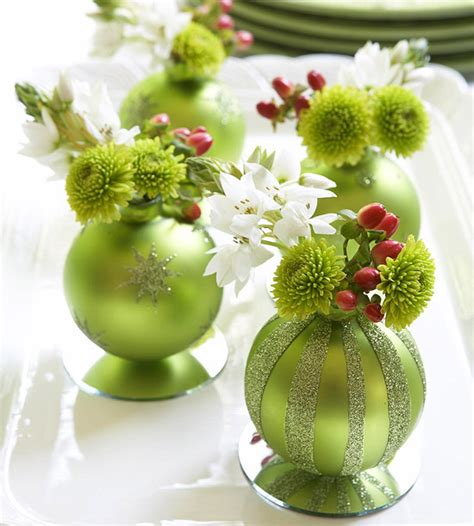 pure dymonds events winter ornament centerpiece idea