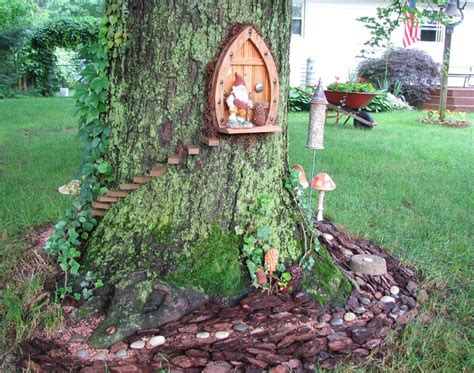 gnome house gnome home front door same tree as gnome home back door opposite side fairy