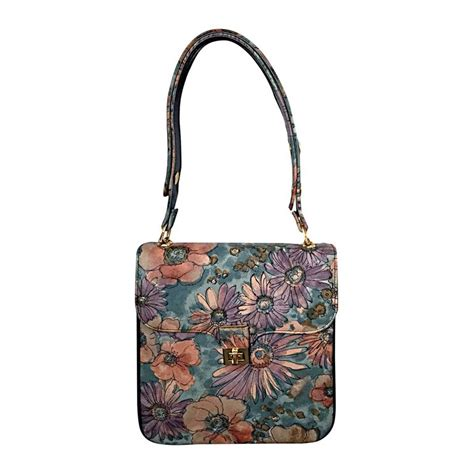 painted leather handbags vintage bags by varon painted leather flower purse handbag for sale at 1stdibs