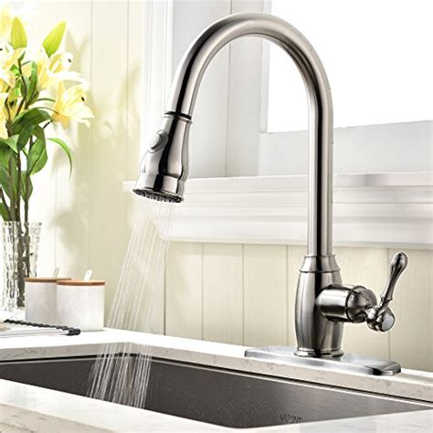 solid brass pull down kitchen faucet nickel brushed vapsint solid brass single handle pull out sprayer brushed