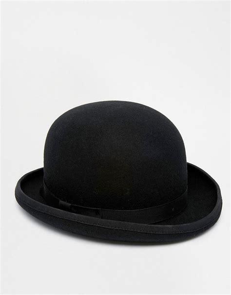 asos asos bowler hat in black felt at asos