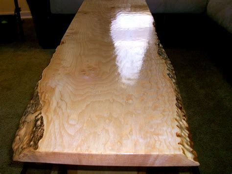 quilted maple slab table