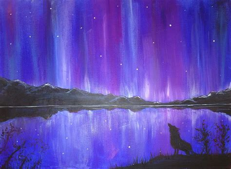 acrylic painting northern lights 124 curated canvas ideas by lolson14 deer silhouette