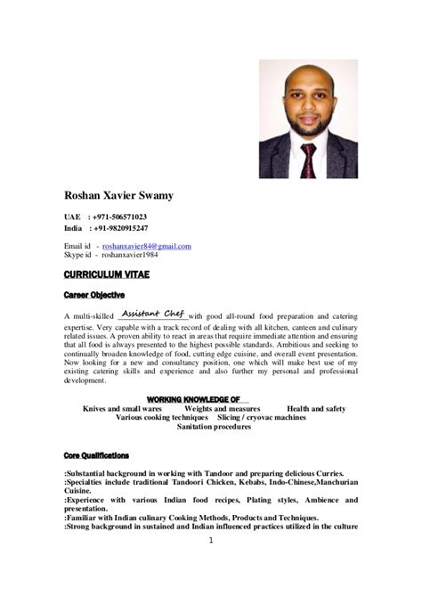 Indian Cook Resume Sle indian chef roshan xavier resume