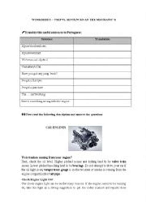 Auto Mechanic Worksheets by Worksheets Useful Sentences To Use At The Car